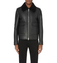 Burberry Shearling Trim Leather Aviator Jacket Black