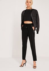 Missguided Piped Formal Joggers Black Black