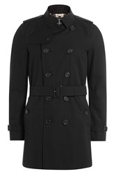 Burberry London Cotton Mid Length Trench Coat Black