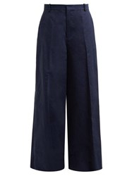 Marni Wide Leg Cotton Blend Trousers Dark Blue
