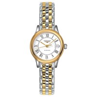 Longines L42743217 Women's Flagship Automatic Date Two Tone Bracelet Strap Watch Silver Gold