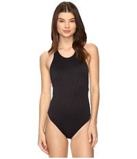 Vince Camuto Tahiti Texture Cut Out High Neck One Piece Black Women's Swimsuits One Piece