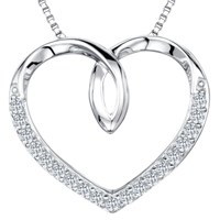 Jools By Jenny Brown Cubic Zirconia Looped Heart Necklace Silver