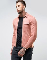 Religion Faux Suede Zip Shirt In Regular Fit Dusty Pink Stone