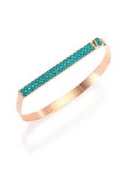 Ginette_Ny Fallen Sky Turquoise And 18K Rose Gold Baguette Bangle Bracelet Rose Gold Turquoise
