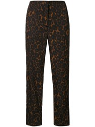 Erdem Gianna Leopard Print Cropped Trousers Brown