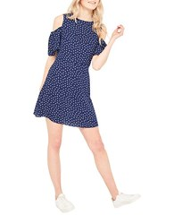 Miss Selfridge Polka Dotted Cold Shoulder Dress Navy Blue
