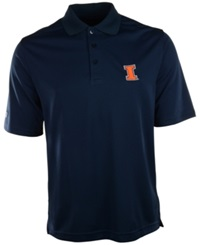Antigua Men's Short Sleeve Illinois Fighting Illini Polo Navy