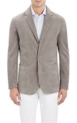 Cifonelli Suede Single Button Blazer Grey