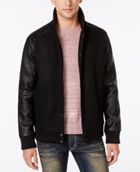 American Rag Wool Bomber Jacket With Pleather Sleeves Only At Macy's Deep Black