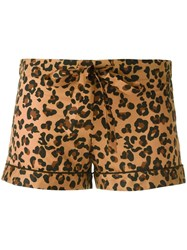 Otis Batterbee Leopard Print Pyjama Shorts Brown