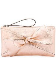 Red Valentino Bow Applique Clutch Bag Women Leather One Size Yellow Orange