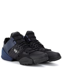 Y 3 Kanja Leather And Fabric Sneakers Black