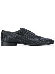 Roberto Cavalli Woven Texture Lace Up Shoes Men Calf Leather Leather 41 Black