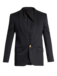 Balmain Single Breasted Cotton Blazer Navy