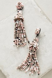 Anthropologie Aly Beaded Drop Earrings Grey