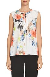Cece Women's Fanciful Bouquets Pintuck Blouse