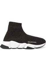 Balenciaga Speed Logo Embroidered Metallic Stretch Knit High Top Sneakers Black