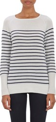 Barneys New York Thin Stripe Cashmere Sweater White