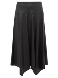 Rebecca Taylor Faux Leather Midi Skirt Black
