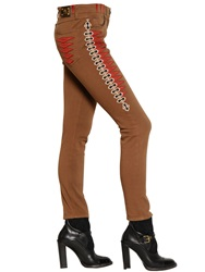 Etro Embroidered Stretch Cotton Denim Jeans Brown