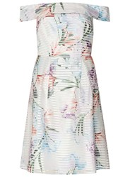Dorothy Perkins Petite White Floral Bardot Prom Dress