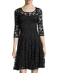 Chetta B Lace Overlay Cocktail Dress Black
