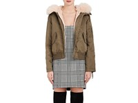 Army By Yves Salomon Women's Fur Trimmed And Lined Bomber Jacket Green Brown