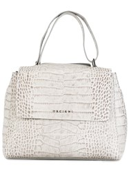 Orciani Snakeskin Effect Tote Grey