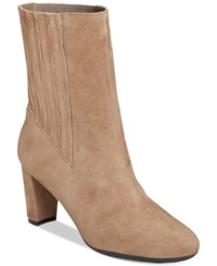 Aerosoles Fifth Ave Booties Women's Shoes Taupe Suede