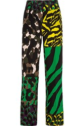 Versace Printed Washed Silk Wide Leg Pants Green