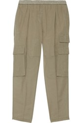 Brunello Cucinelli Cotton Canvas Tapered Pants Army Green