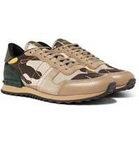 Valentino Garavani Rockrunner Camouflage Print Canvas Leather And Suede Sneakers Neutral