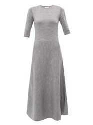 Gabriela Hearst Seymore Wool And Cashmere Blend Midi Dress Light Grey