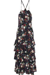 Marissa Webb Everleigh Tiered Floral Print Silk Crepe De Chine Midi Dress Black