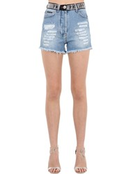 Philipp Plein Denim Shorts W Crystal Logo Waistband