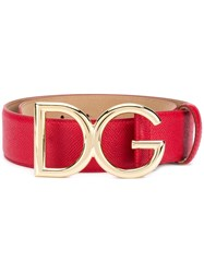 Dolce And Gabbana Dg Leather Belt Red