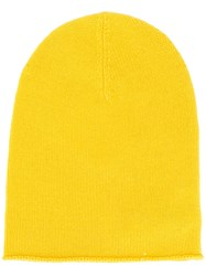 Allude Chunky Knit Beanie Hat Yellow