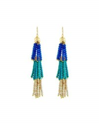 Panacea Layered Beaded Tassel Drop Earrings Turquoise