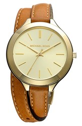 Michael Michael Kors Women's Double Wrap Leather Strap Watch 42Mm