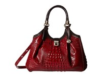 Brahmin Elisa Carmine Red Satchel Handbags Brown