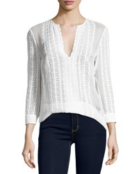 Elizabeth And James Riley Embroidered Silk Blouse Ivory