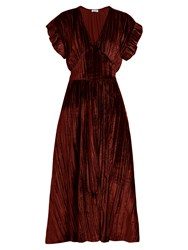 Masscob Deep V Neck Velvet Midi Dress Burgundy