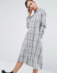 Daisy Street Oversized Shirt Dress In Grid Check Grey
