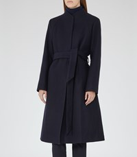 Reiss Elias Womens Collarless Coat In Blue