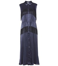 Ganni Donnelly Fringe Dress Blue