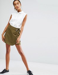 First And I Wrap Mini Skirt Dark Olive Green