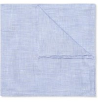 Anderson And Sheppard Puppytooth Linen Pocket Square Light Blue