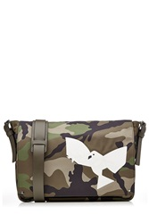 Valentino Camouflage Printed Messenger Bag With Leather Green