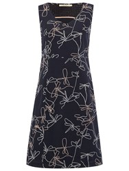 White Stuff Dragonfly Embroidered Dress Fossil Grey